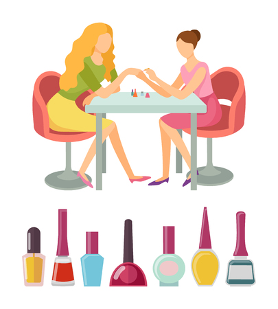 Spa salon manicure client and specialist vector, icons set. Bottles with paint nails polishing liquid of different colors. Manicurist beauty service Illustration