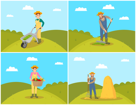 Farmer with trolley filled with compost for soil fertilizing. Women with wicker basket and veggies, tomatoes and carrots. Hay bale hayrick set vector