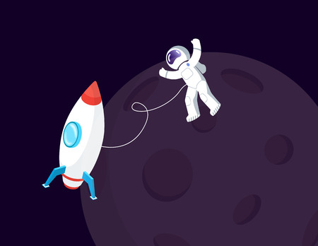 Spaceman in spacesuit and spaceship near Moon vector. Space or cosmos, cosmonaut or astronaut in weightlessness and spacecraft, Earth natural satellite Ilustração