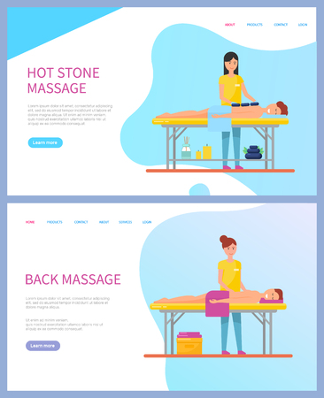 Hot stone and back massages vector, online appointment order. Relaxing beauty procedure, oil and lotion, men under towel on table and masseuse web page