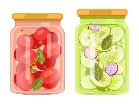 Preserved food in jars, vegetables with bay leaves. Tomatoes and cucumbers, onions or dill. Products conservated for winter vector illustrations set.