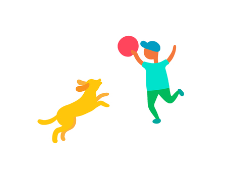 Child playing with dog pet outdoors, vector isolated boy in cap with ball or plate play with puppy canine. Summertime cartoon characters kid and animal