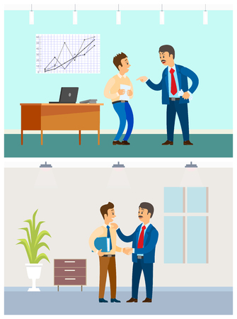 Boss and employee relationship, bad or good job. Executive and irresponsible workers, office interior, statistical graphics vector illustrations.