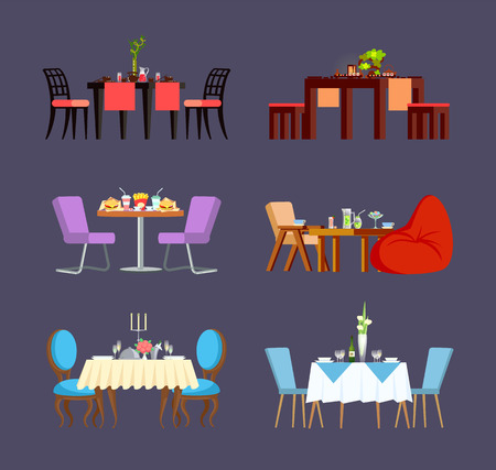 Serving for couple, glass and ceramic plates, soft chairs and plant. Board with fast food, sushi and sweets meal. Design view of decorated table vector Foto de archivo - 125270967
