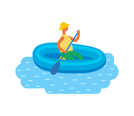 Man in hat swimming on inflatable rubber boat in sea or river isolated vector. Cartoon style person in flat design on craft with oar, male resting on water