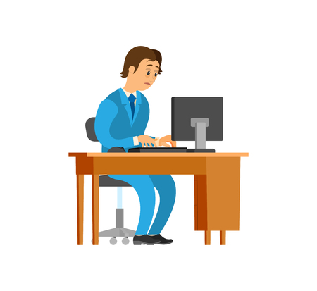 Novice working at new office job, mans workplace vector. Table with personal computer, scared employee typing on keyboard. Unsure newbie wearing suit