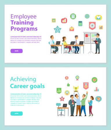 Mitarbeiterschulungsprogramme und das Erreichen von Karrierezielen Webseiten Vektor. Leute, die mit Laptop arbeiten und Strategien besprechen, Arbeiter, die Preisvektor halten