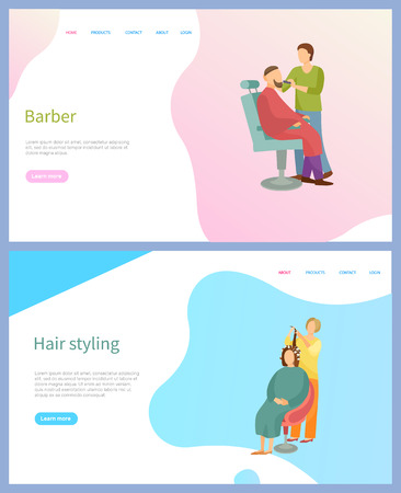 Barber and hair styling beauty salon web page, sitting client on armchair and working master. Making hairstyle for woman and cutting beard for man vector Фото со стока - 125270979