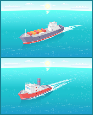 Steamboat Marine Transport Vessel Cargo Ship Icons 스톡 콘텐츠 - 117269986