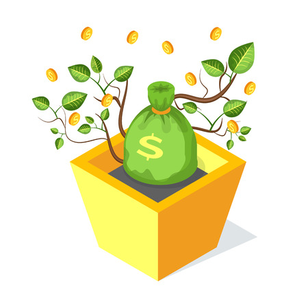 Money bag vector, isolated icon of tree growing from flower pot with soil. Golden coins and leaves financial profit and finance investment, savings