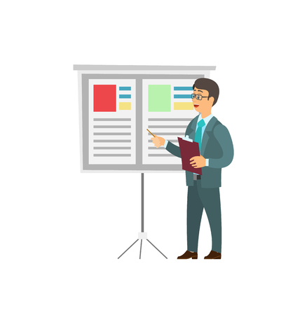 Office worker in glasses making report pointing on information board. Businessman in suit at conference, folder in hand, cartoon speaker isolated vector