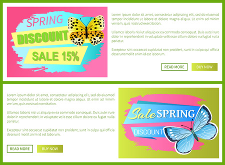 Springtime discount big spring sale labels on posters with butterflies, colorful vector voucher advertisement sticker with tag, add your text leaflets