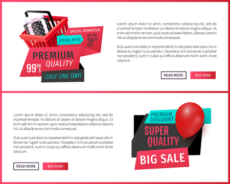 Premium discount, super quality products web pages set vector. Exclusive sale, only one day, label with shopping basket and present. Ads of shops