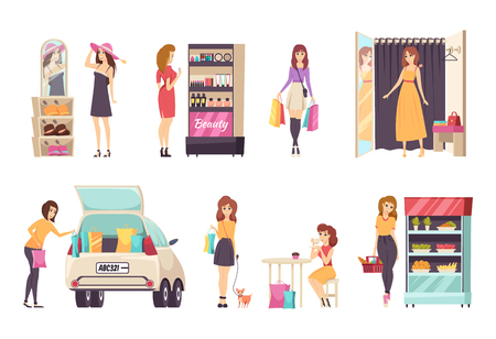 Females shopping at stores and purchasing clothes, dresses and hats. Cosmetics and food shop, car with paper bags, lady with toy dog walking vector