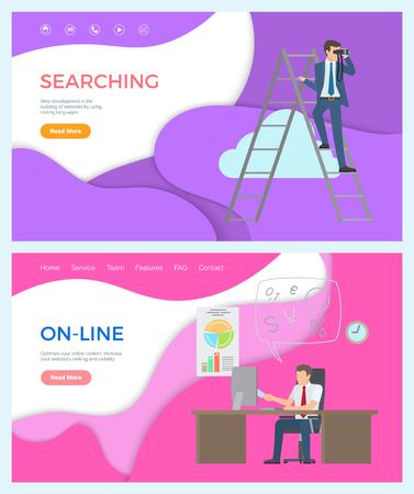 Online business person working in office searching ideas vector.