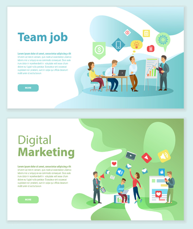Team job and digital marketing Internet web pages vector. Ilustração