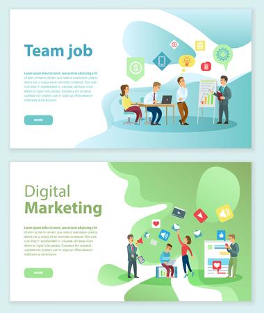 Travail d'équipe et vecteur de pages Web Internet de marketing numérique. Vecteurs
