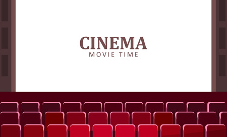 Cinema hall with wide screen and red rows of seats vector. Çizim