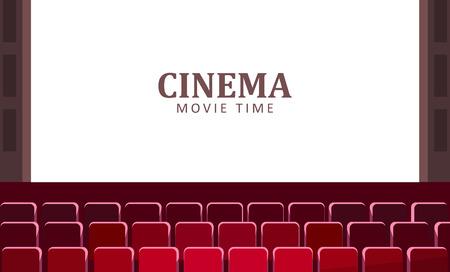Salle de cinéma avec grand écran et vecteur de rangées rouges de sièges.