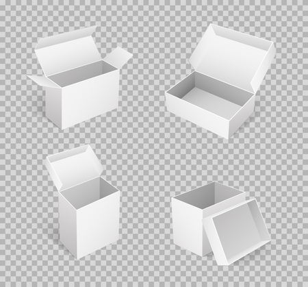 Open carton boxes of square shape in 3D isometric on transparent. Package icon for parcels transportation, pack for delivering goods, vector mockups