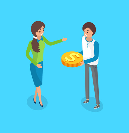 Practice of funding venture by raising small amounts of money from large number of people via Internet, vector isolated. Male and female crowdfunding Illustration