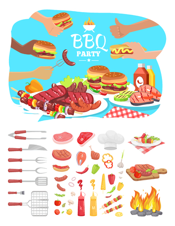 BBQ party poster with text isolated icons set vector. Ilustração