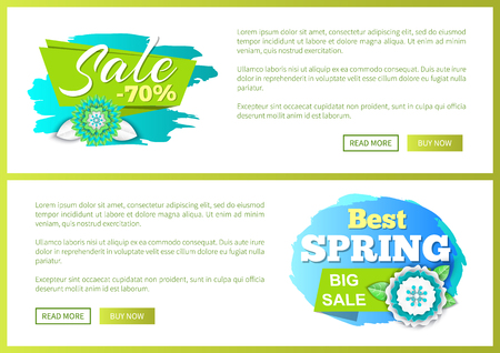 Springtime blooming flowers, big sale offer, discounts 70 percent off on brush strokes, advertisement cards. Shop clearance labels on vector web posters Ilustrace