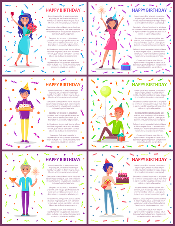 Happy birthday poster with text sample, partying people happily jumping and celebrating. Male with cake and candles, dessert and cocktail in glass