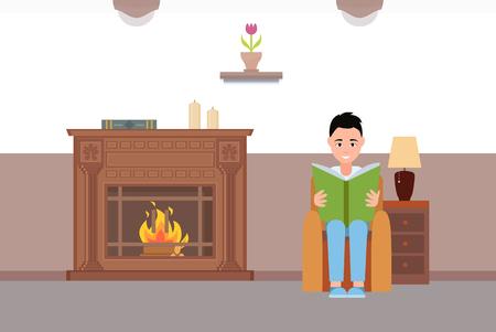 Mann liest Buch am Kamin zu Hause Vektor, entspannende Atmosphäre des Hauses mit Sessel, Tisch und Lampe glühen. Wärme und Komfort für Menschen Vektorgrafik