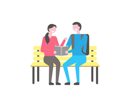 Male and female students sitting on bench and reading book. Young happy couple university learners having fun during break, repeating material in textbook Stock Vector - 125255188