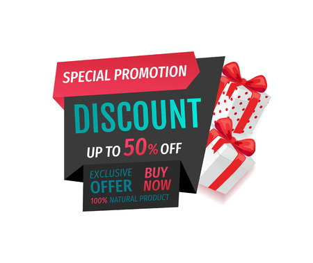 Special promotion discount, offer of 50 percent cost lower vector. Buy now banner with half price reduced. Retail advertisement, sale on presents