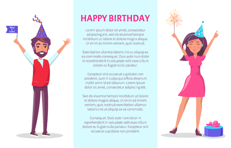 Happy birthday poster, man and woman in cartoon cone shape hats with raised up hands greeting everyone.