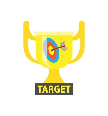 Target vector, gold award for best results in business. Trophy with handles, cup for successful completion of tasks and achieving success, dartboard