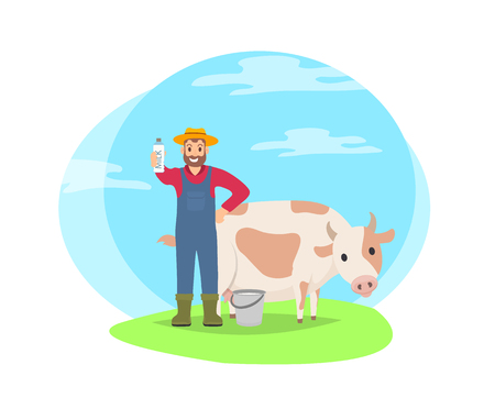 Cartoon icon of farmer with cow on field vector badge isolated on landscape. Smiling man standing with big domestic animal with bottle of milk in hand Illustration