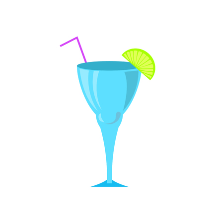Cocktail in glass vector, drinks served with cut lime and straw. Liquor for partying, alcoholic beverage with fresh ingredients, refreshing juice liquid