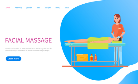 Woman lying on table with towel on body, masseuse making facial massage. Relaxation of head, procedure with face. Portrait view of people web vector. Website or webpage template landing page in flat