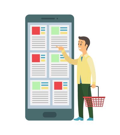 Person, die Warenkorbvektor hält und Artikel bestellt. Käufer mit Warenkorbauswahl im Internetshop, Online-Shop für schnelle Einkäufe und Zahlung