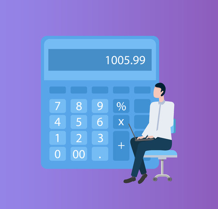 Person sitting on armchair with laptop, paperwork and calculation vector.