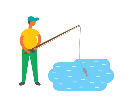 Male fishing in lake, vector isolated fisher catching fish. Male in cap with fishery rod going to catch carp or trout, fishermans hobby sport activity
