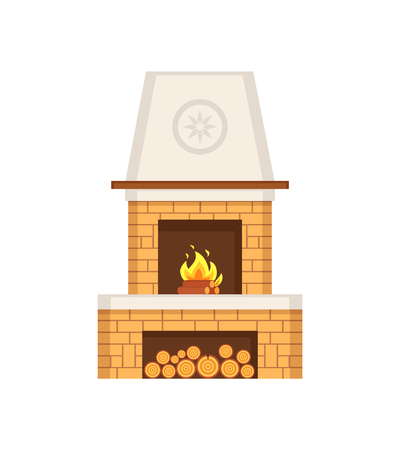 Fireplace made of brick construction with chimney vector.