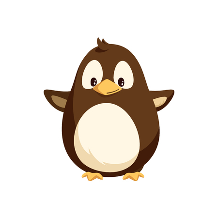 Penguin with wide open wings, white belly isolated vector. Cartoon toy, North pole arctic funny animal, Christmas and New Year greeting character Illustration