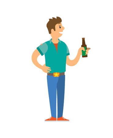 Male on disco standing with bottle of alcohol vector. Isolated male holding glass of alcoholic beverage, drinking guy partying in club, clubbing man