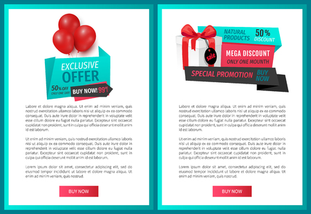 Exclusive goods, label with inflatable balloons, price and clearance tags. Premium discount, big sale of super quality products web page template vector Illustration