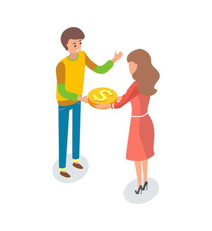 Homme et femme dans un projet de financement participatif, pratique du financement d'une entreprise en collectant des fonds auprès d'un grand nombre de personnes, généralement via Internet, vecteur isolé
