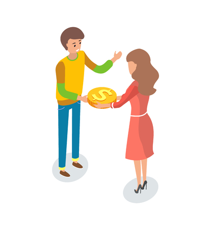 Male and woman in crowdfunding project, practice of funding venture by raising money from large number of people, typically via Internet, vector isolated Çizim