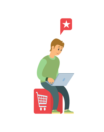 Man with laptop doing shopping in Internet isolated cartoon person.