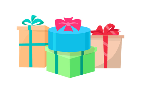 Presents packed in gift boxes vector isolated surprises. Vector New Year, Valentine day and Birthday gifts, color packages decorated by satin ribbons and bows