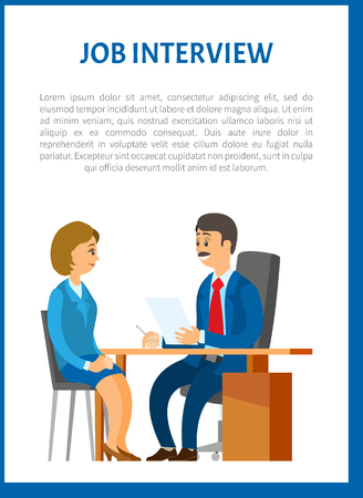 Job interview vector poster. Boss interviewing young woman on a position of executive manager. Human resource manager and worker hiring on new work