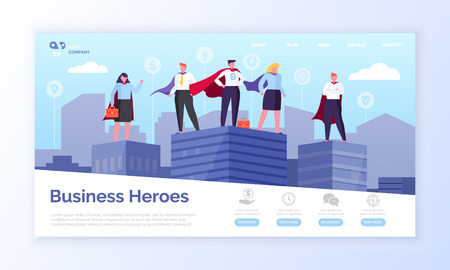 Imprenditori in cappotti da eroe, vettore di pagine web di eroi d'affari.