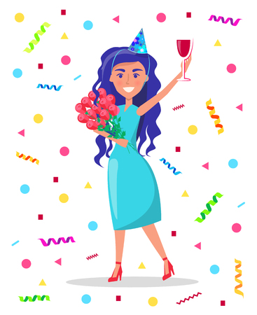 Woman celebrating birthday at party vector. Person with alcoholic drink in hands, flying confetti and funny mood. Celebration of anniversary partying Illustration